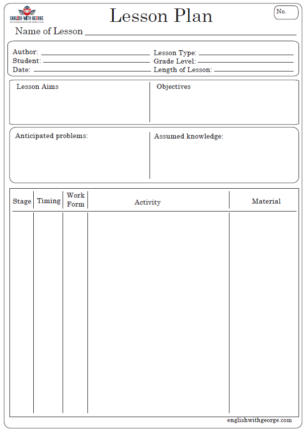 Lesson Plan Template - with logo - English with George