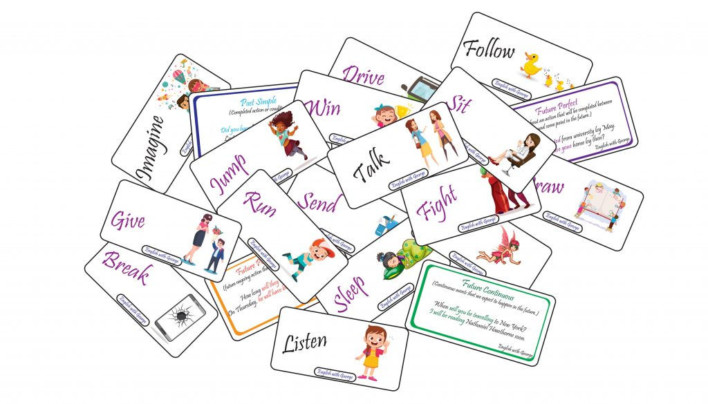 Practice ans review tenses card game - English with George